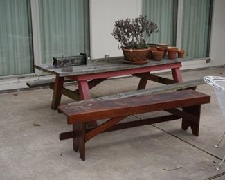 Wooden picnic table $75                                                          wooden bench  $35                                                                assorted flower pots