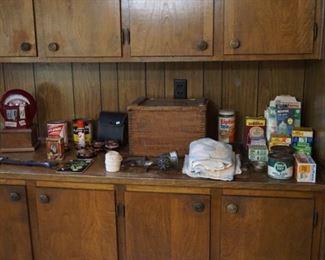 Collectibles , flour sacks, ammo box, Parking meter bank like new working condition, Bridgeport hatchet