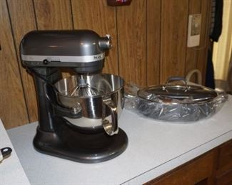 KitchenAid Professional 600 series Never used, box, extra beaters and cover  included,  $400                 Rachel Ray  Anolon skillet  new with box
