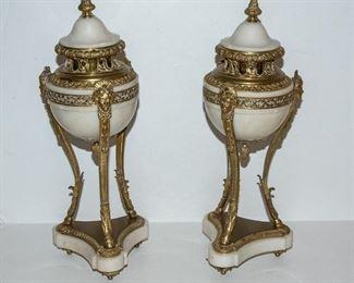 Pair of Empire Style Covered Potpourri Vases