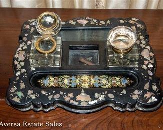 Abalone Inlaid Inkwell desk Set