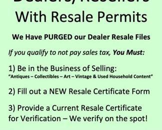 Resale Permit Requirements