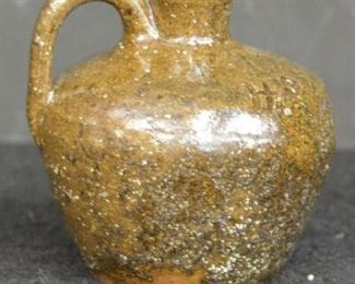 6413 - Alkaline Glaze Small 1 Handle Jug, Adv Huffry Hotel - Late 1930's