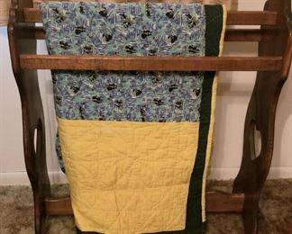 Sturdy quilt rack with one of the quilts