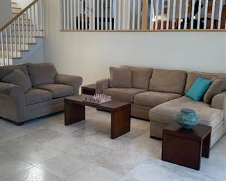 Item #1 Three Piece Table Set includes two side tables and coffee table $175 set in excellent condition           Item #2 Broyhill microsuede Sofa with Chaise $500 on Sale for $300  in excellent condition.                                                                        Item #3 Broyhill microsuede Loveseat in excellent condition $300 on sale for $200