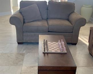 Item #1 Three Piece Table Set includes two side tables and coffee table $175 set in excellent condition           Item #2 Broyhill microsuede Sofa with Chaise $500 in excellent condition.                                                                        Item #3 Broyhill microsuede Loveseat in excellent condition $300