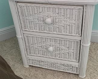 Now $150 set!!!tem #5 Three Piece White Wicker Full Sized Bedroom set. Includes bedside table, Full size bed, mattress and box spring and dresser. $500 set