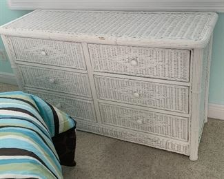 Now $150 set Item #5 Three Piece White Wicker Full Sized Bedroom set. Includes bedside table, Full size bed, mattress and box spring and dresser. $500 set