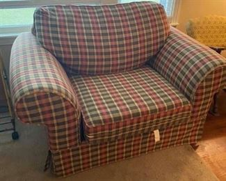 """Oversized Chair Some small stains 58"""" x 38"""" x 18"""" tall to seat, 3' tall to back Must be able to move and load yourself."""