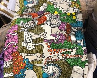vintage 60's 70s shower curtian animal print
