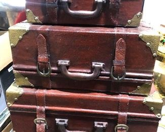 leather deco luggage for decorating/tables