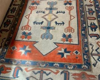 $250 Vintage kilim rug 101' x 73'' blue and red, shows wear
