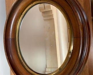 $120 19th C oval mahogany mirror 14 x 11 1/2''
