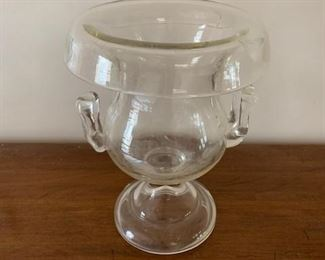 $60 19th C glass flower urn, unmarked, 8""