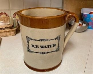 $50 8'' 1930s Stoneware Ice Water Pitcher
