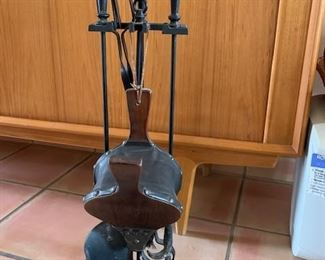 $80 Vintage wrought iron fireplace tool set with bellows