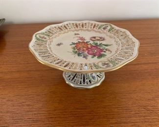 $35 Vintage Dresden porcelain compote 8 1/2'' diameter, no damage noted