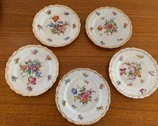 $45/5 Vintage Dresden porcelain plates, 1 with minor chip