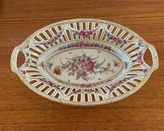 $50 Vintage Dresden porcelain oval bowl 10'' long, no damage noted