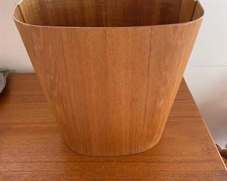 $120 Mid-C Danish teak waste basket