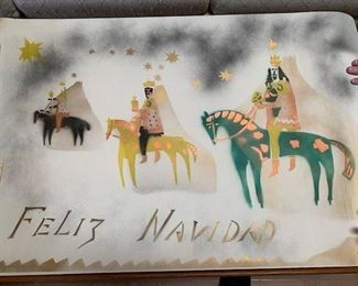 "$35 each Agnes C. Sims (1910-1990), (2) ""Feliz Navidad"" unframed prints hand stencilled on paper, 25"" x 38''"