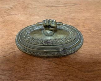 $25 19th C Brass Paperweight 4 1/2''