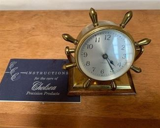 $95 Vintage Chelsea brass ships wheel clock