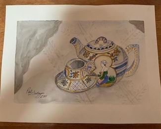 "$35 Patricia Salazar (1936-2019) 2001 watercolor tea set, unframed 10"" x 13 1/2''"