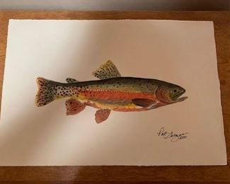 "$45 Patricia Salazar (1936-2013) 2001 watercolor rainbow trout, unframed  9 1/2"" x 14''"
