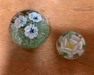 Unsigned Art Glass Paperweights Left $40 Right $25