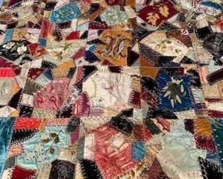 $500 Exceptional embroidered silk and velvet Philadelphia wedding/crazy quilt ca 1890, 64'' x 64''; detailed pictures and information available on request