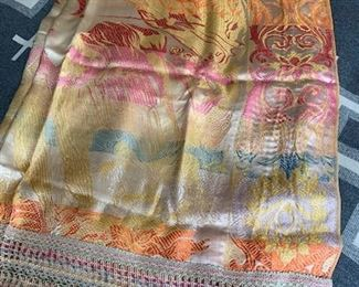$150 Silk coverlet with fringe 100''x100''