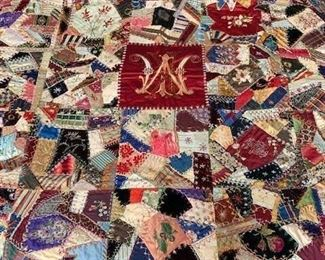 $600 A second exceptional embroidered silk and velvet Philadelphia wedding/crazy quilt 1888, 61'' x 61''; exhibition tag included, additional pictures and information available on request