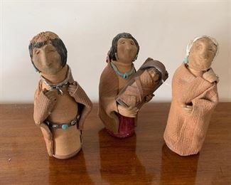 $70  Vintage Pueblo ceramic figurines signed Marnie Set/3