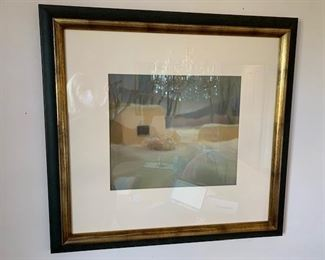 $250 Anne Huston, Taos 'Winter Adobe' pastel on sandpaper 26'' x 27'' framed, 12'' x 14 3/8'' image