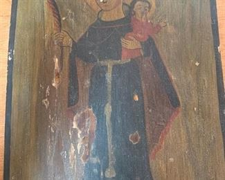 "$175 Vintage retablo on wood, Saint Anthony and Child 10 3/4"" x 8''"