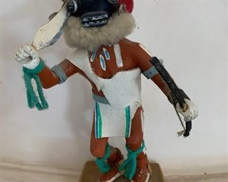 $400 Tuskiapaya/Crazy Rattle Kachina, hand carved and painted cottonwood root, 9 1/2'' (purchased from Forrest Fenn Gallery)