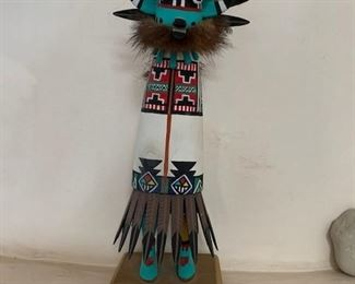 $225 Hopi Sakwa Hu/Blue Whipper Kachina, hand carved and painted cottonwood root,  11''