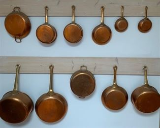 Henry Roesse $ Sons NY copper pots and pans ca 1950, all interiors re-tinned; see following pictures for prices