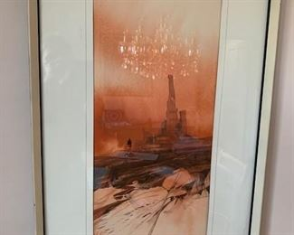 "$45 Watercolor, unsigned 31"" x 19'' framed, 22"" x 10'' image"