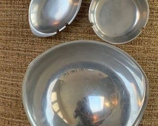 Vintage Nambe Ware 5'' ashtray $15;  6'' ashtray $20;  9'' tri corner bowl $35