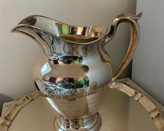 $400 Gorham Sterling 4 1/4 pint water pitcher, 1952 inscription, 20.3 t oz, tray not included