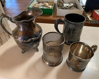 Antique silver plate pitcher $20, monogrammed holder $10, cups $20/each