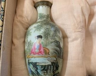 $165  Ching Dynasty Chinese painted porcelain vase, (only one of original pair)