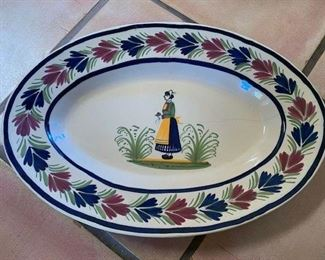 $25 Vintage Quimper 16 1/2'' x 11 3/4'' Footed Platter, Hairline Crack Midway and Chips on Base