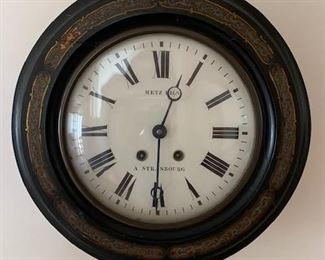 $450 19th C French mahogany schoolhouse or railway wall clock, marked Metz Fils, A. Strasbourg, gilt and polychrome painted border