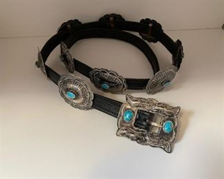 $125 Vintage Balck Leather 40'' Concho Belt with 9 Concos with Silver/Turquoise
