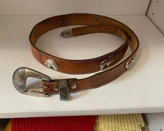 $25 Brown Leather Leegan Western Belt Size 32