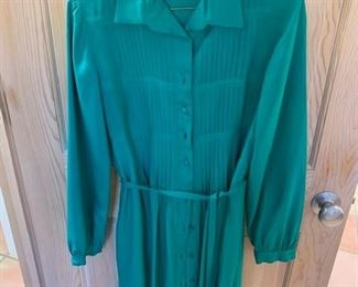 $25 Nardiello Casi Vintage Green Silk Shirt Dress Size 8