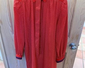 $15 Schrader Sport Vintage Red Cotton Shirt Dress Size 8
